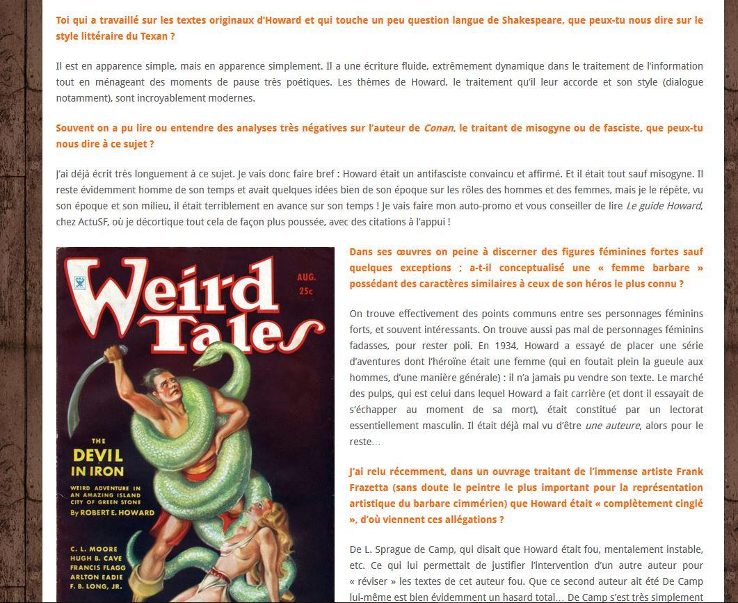 Exemple d'interview, ici Patrice Louinet, traducteur de Conan