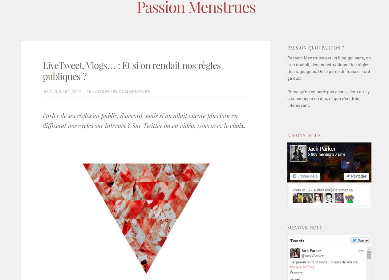 Passion Menstrues, le blog 100% r\u00e8gles