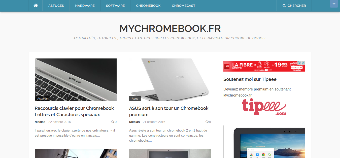 Interface Mychromebook.fr